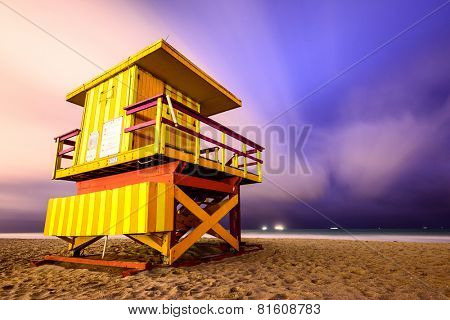 Lifegaurd tower on Miami Beach.