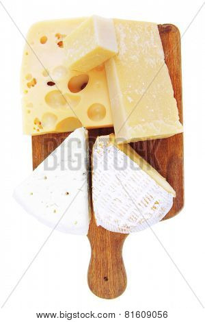 edam parmesan and brie cheese on wooden platter isolated on white background