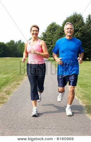 Seniors Couple Jogging