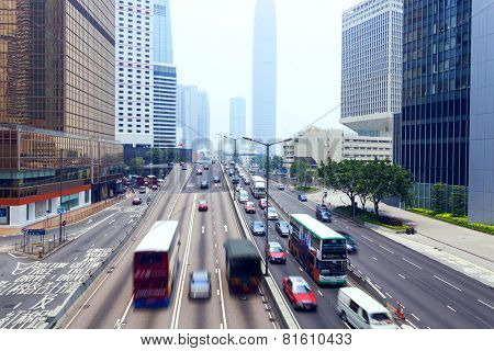traffic of modern city hongkong at daytime
