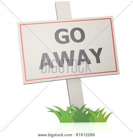White Banner With Go Away