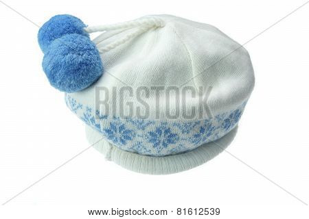 White Knitted Winter Wool Hat With Pom-pom