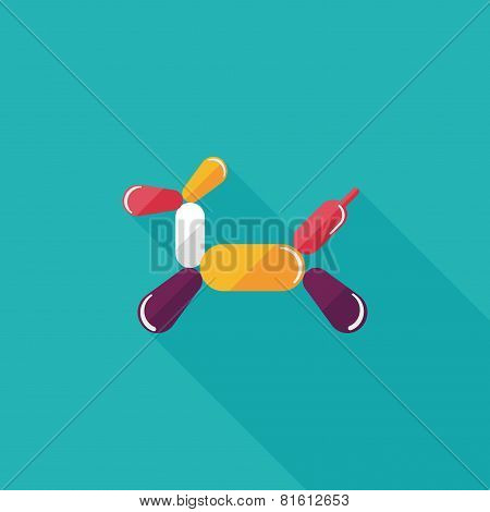 Birthday Ballon Dog Flat Icon With Long Shadow,eps10
