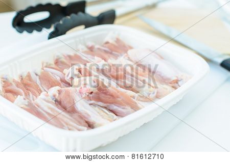 Raw Chicken Wing In Package