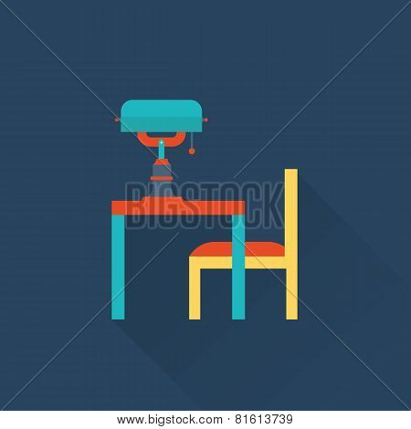 table and lamp vector flat library icon