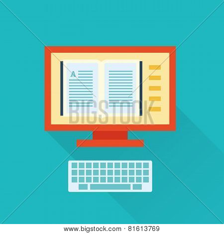 online vector flat library icon