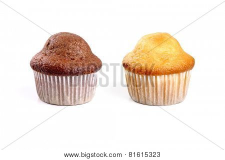 Chocolate and cream muffins on white background