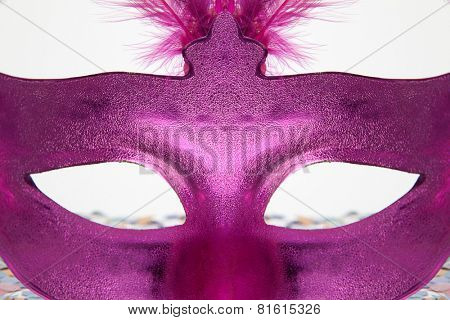 Hidden Behind the mask on a Carnival party on white background