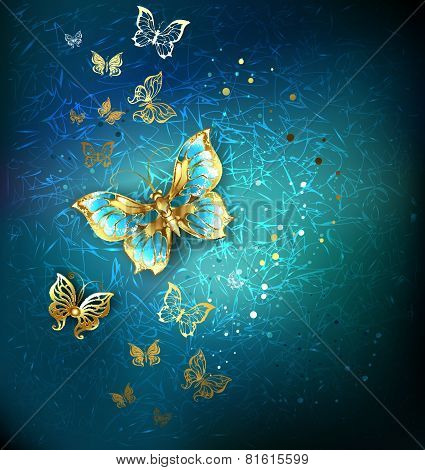Luxury Gold Butterflies Background