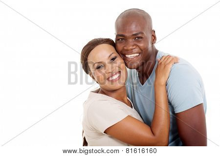cute young african couple isolated on white background