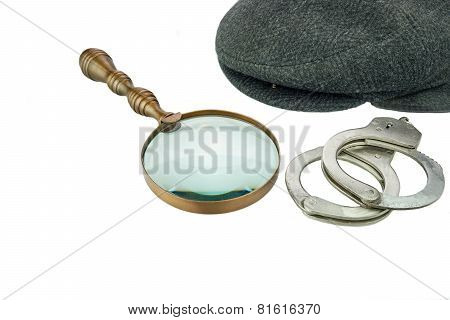 Detective Warm Cap, Retro Magnifying Glass And Real Handcuffs