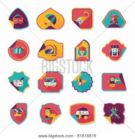 Travel Sticker Flat Banner Background Set, Eps10