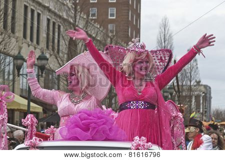 Happy Pink Ladies At Mardi Gras