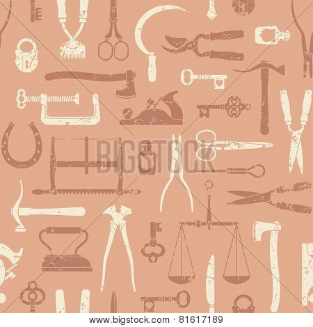 Vintage Tools And Instruments Seamless Pattern 3
