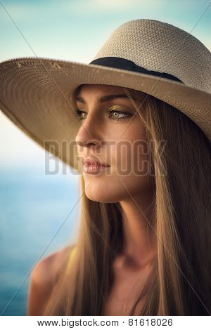 Portrait of  woman  with a warmth light