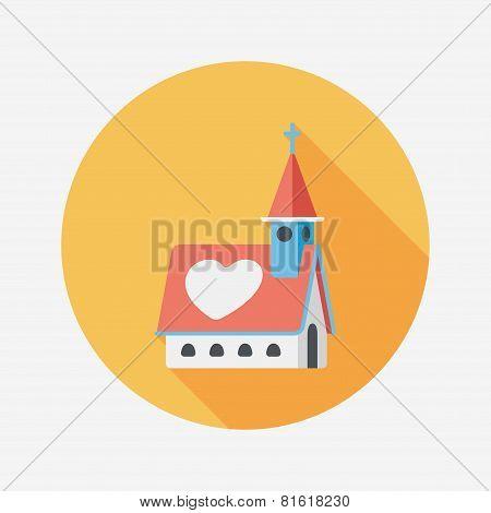 Wedding Church Flat Icon With Long Shadow,eps10