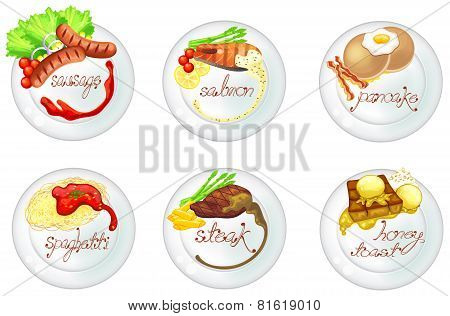 Western Food And Dessert In White Dishes Icon Set, Create By Vector