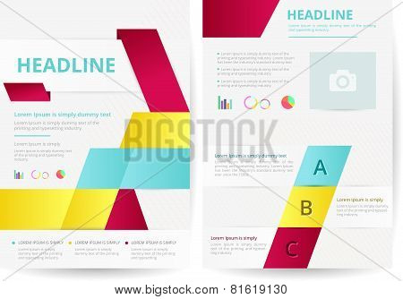 Two Pages And Flyer Background Layout Design In A4 Size, Create By Vector