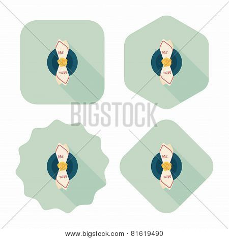 Wedding Tableware Flat Icon With Long Shadow,eps10