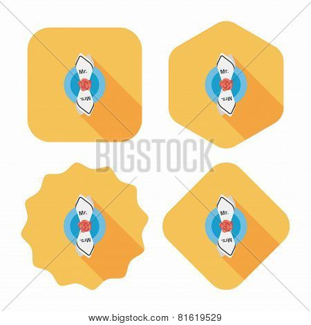 Wedding Tableware Flat Icon With Long Shadow,eps10