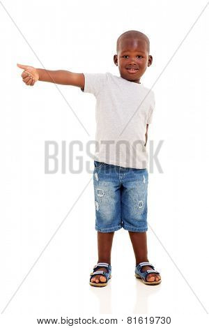 happy little afro american boy giving thumb up on white background
