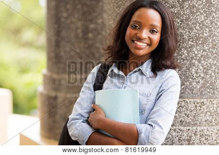 happy afro american university student looking at the camera