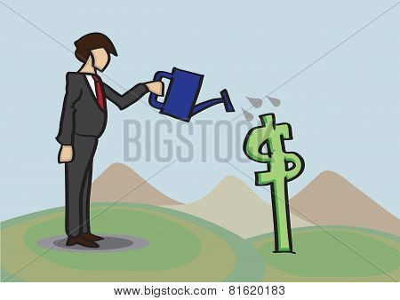 Growing Money Business Metaphor Vector Cartoon Illustration