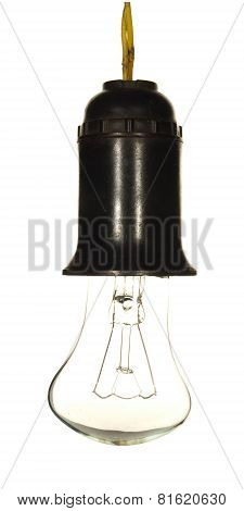 Vintage Electric Cartridge With A Bulb Isolated On A White Background.