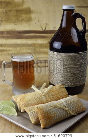 Microbrew Beer And Tamales