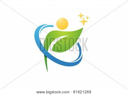 circle plant people health logo,wellness human nature design vector