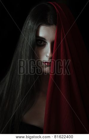 Vampire girl looking at the camera