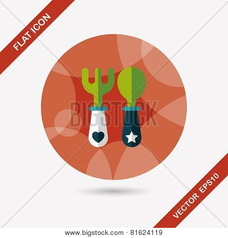 Dish ware And Cutlery Flat Icon With Long Shadow,eps10