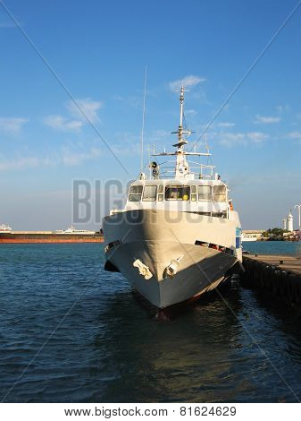 Ship Standing Near Moorage