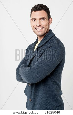 Cheerful Man With Folded Arms