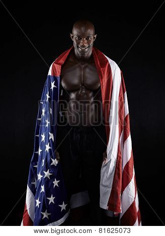 Muscular Man With American Flag