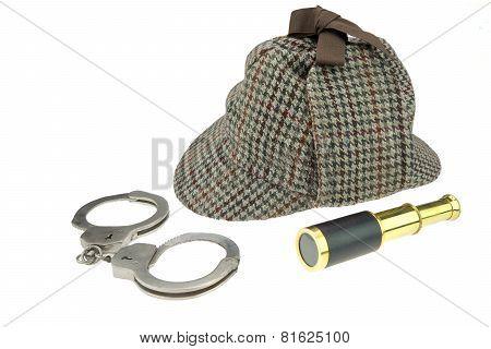 Deerstalker Hat, Real Handcuffs And Retro Spyglass