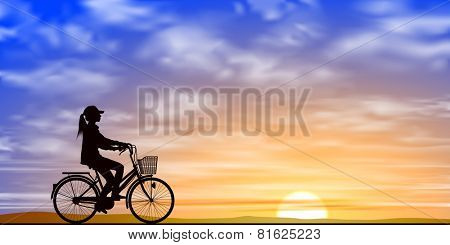 A Girl on a Bicycle in Silhouette with Sunset, Sunrise. Vector EPS 10