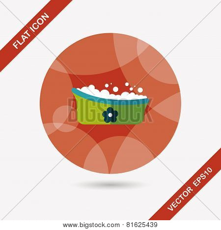 Baby Bath Baby Flat Icon With Long Shadow,eps10