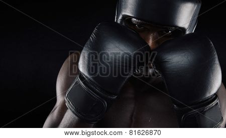 African American Boxer Ready For Fight