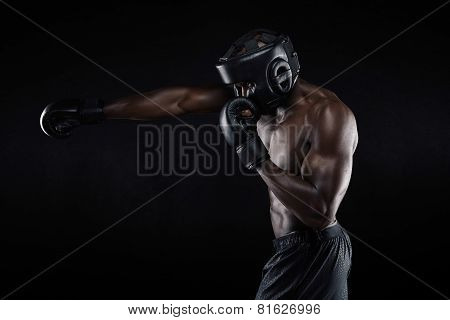 Tough Young Male Boxer Practicing