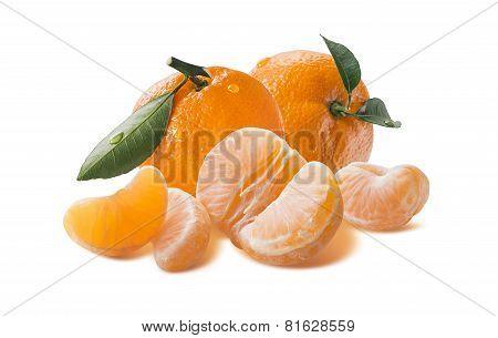 Big Fresh Mandarin Group With Peeled Segments Isolated On White