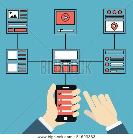 Wireframe And Structures Of Websites. Responsive Web Design Of Mobile Application For Device. User E