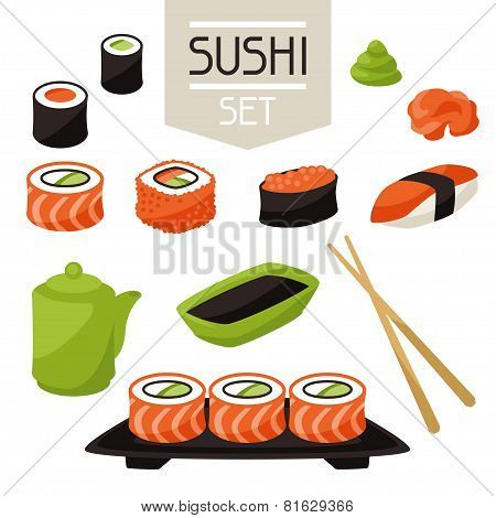 Icon set of various sushi.