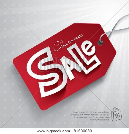 Red sale tag. Clearance Sale.
