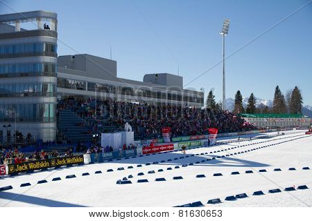 SOCHI, RUSSIA - MARCH 7, 2013: The combined ski-biathlon complex