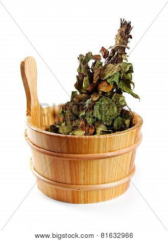 Sauna Accessories - Bucket With Birch Broom Isolated On White