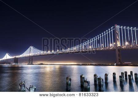 Sf-oakland Bay Bridge At Night