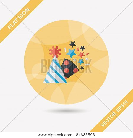 Birthday Party Hat Flat Icon With Long Shadow,eps10