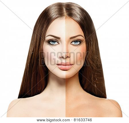 Beautiful young woman with tanned skin before and after tan. Face divided in two parts, tanned and natural. Suntan concept. Isolated on a white background,