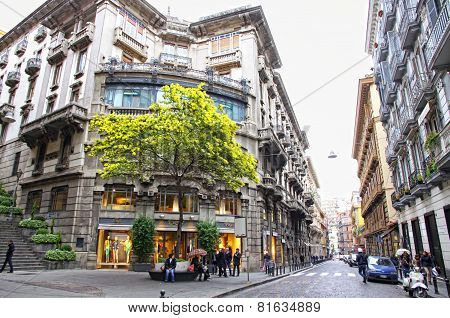 Spring View Of Via Dei Mille Street In Naples, Italy